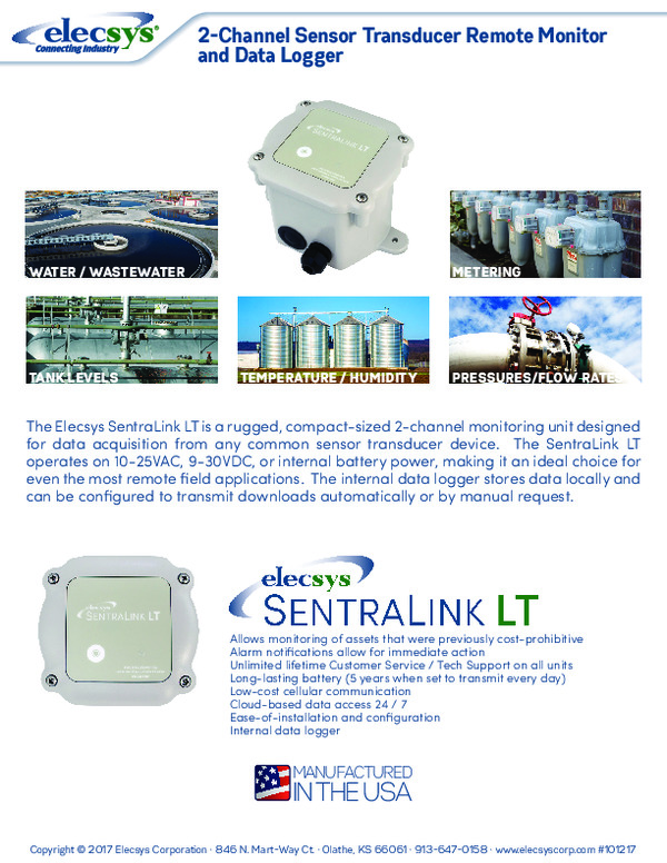 2-Channel Sensor Transducer Remote Monitor and Data Logger