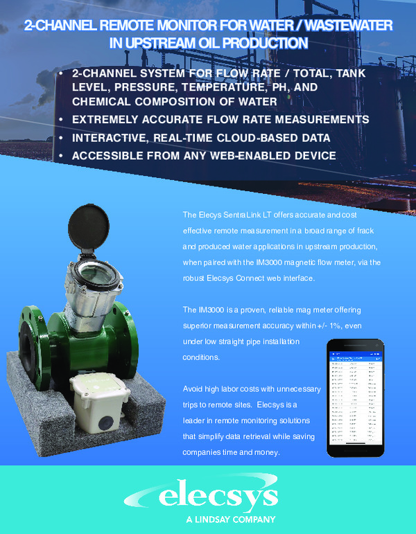 2-Channel Remote Monitor for Water/ Wastewater in Upstream Oil Production