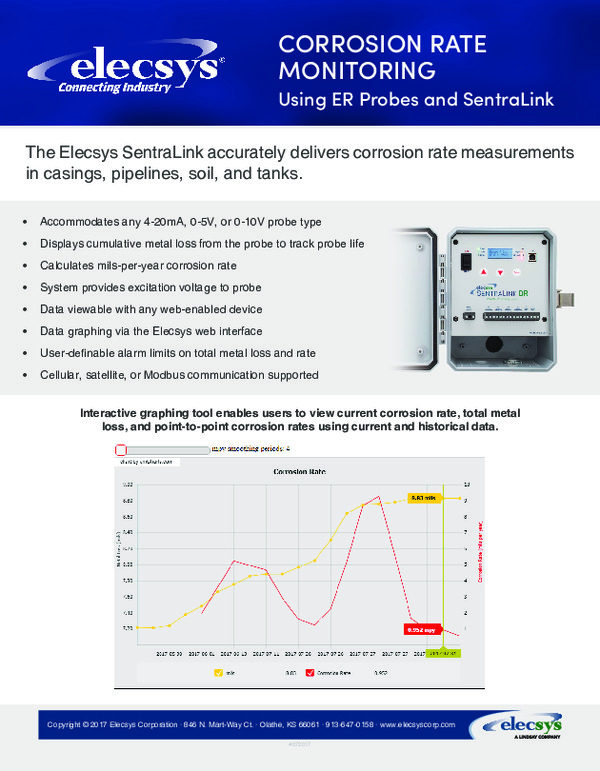 Corrosion Rate Monitoring - Using ER Probes and SentraLink