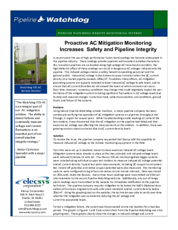 Proactive AC Mitigation Monitoring Increases Safety and Pipeline Integrity