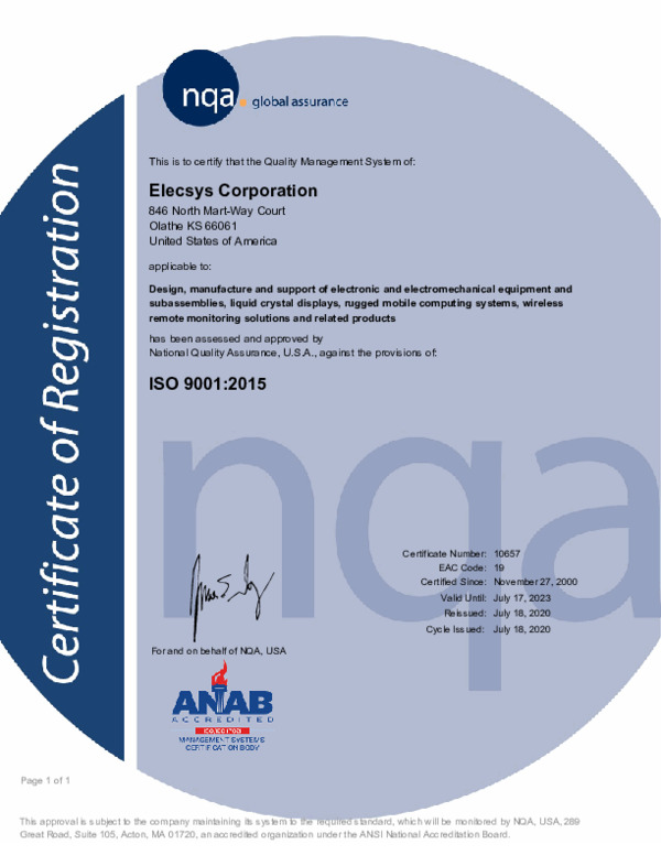 Certification of Registration - ISO CERTIFICATION